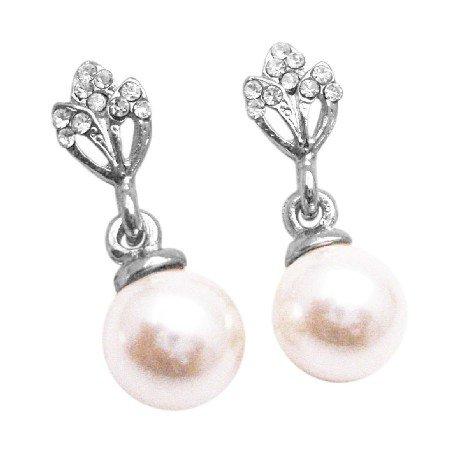 UER420  Bridal Wedding Ivory Pearls Dangling Diamante Studs Embedded Earrings
