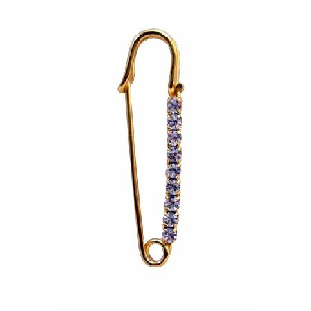 B037  Safety Pin Brooch Gold Metal w/ Sparkling Cubic Zircon