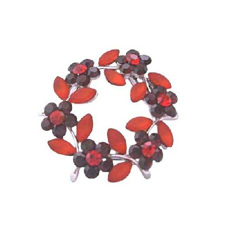 B015  Round Dark Siam Red Crystals Flower Brooch Enamel Red Leaves Red Crystals Brooch Jewelry