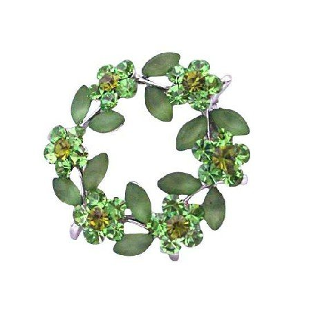 B023  Elegant & Unique Green Enamel Leaves Crystals Flower Brooch