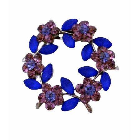 B125  Crystals Flower Brooch Amethyst Blue Crystals Round Flower Sophisticated Brooch