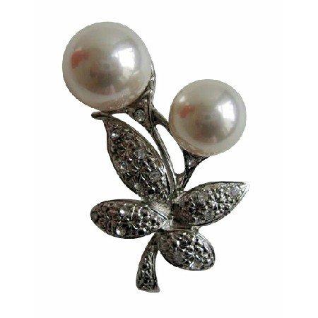 B205  White Pearls Fashion Brooch Pin w/ Cubic Zircon Bud Decorated Brooch