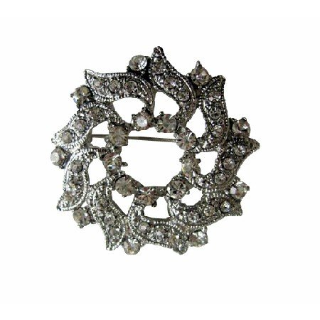 B076  Cubic Zircon Brooch Simulated Diamond Round Brooch Sparkling Brooch Pin