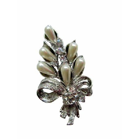 B034  Pearls Cubic Zircon Bouquet Brooch New And Sleek Bouquet Brooch