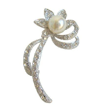 B041  Small Sunflower Brooch Silver Casting Pin Brooch w/ Simulated Diamond Sparkling Pin Brooch