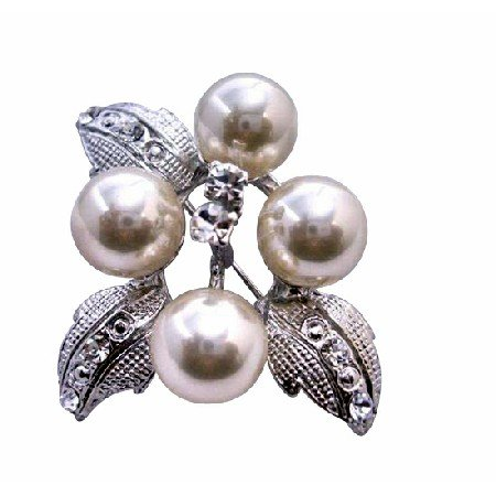 B032  Flower Pearls Brooch w/ Silver Casting Leaves Decoraed Cubic Zircon Gorgeous Brooch