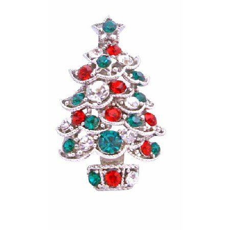 B188  Christmas Brooch Sparkling Green Red Cz Christmas Tree Brooch