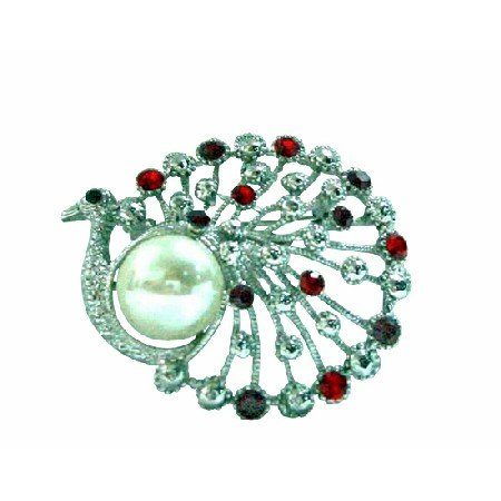 B182  Siam Red Crystals Peacock Round w/ Pearls Brooch
