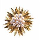 B209  Vintage Gold Brooch w/ Pearls & Cubic Zircon In Center Surrounded w/ Gold Leaf Brooch