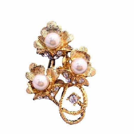 B213  Gold Flower Bouquet Brooch Decorated Pearls & Cubic Zircon Brooch