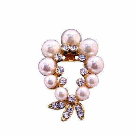 B219  Garland Cubic Zircon Brooch w/ Ivory Pearls Gold Brooch
