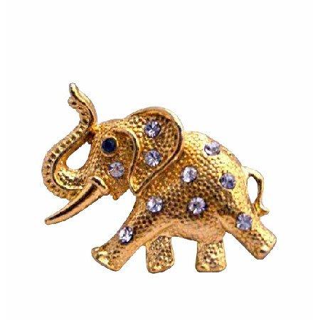 B200  Gold Elephant Brooch w/ Trunk Lift Elephant Brooch