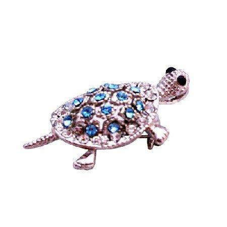B357 Aquamarine Crystals Silver Turtle Brooch Pendant Aquamarine Crystals Turttle Pendant Brooch