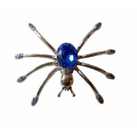 B093  Austrian Sapphire Crystals Spider Brooch Pin