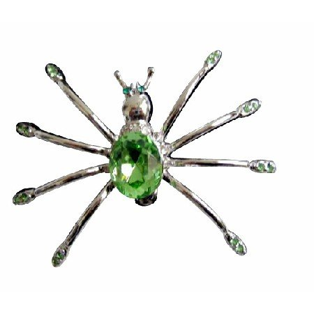 B185  Peridot Crystals Brooch Spider Brooch In Peridot Crystals Brooch Pin