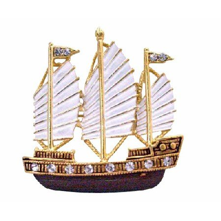 B376  Sail Boat Brooch Artistically Hand Painted In White & Antique Brown & Golden Brooch
