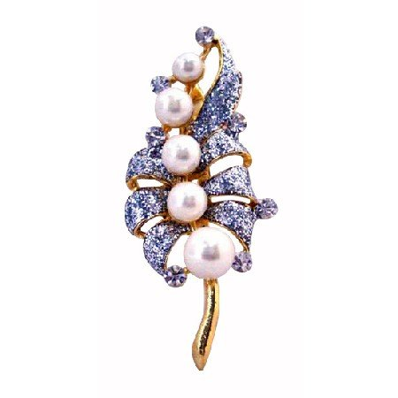 B383  Gold Brooch Bouquet OF Pearls w/Simulated Diamond Encrusted On Each Leave Wedding Brooch