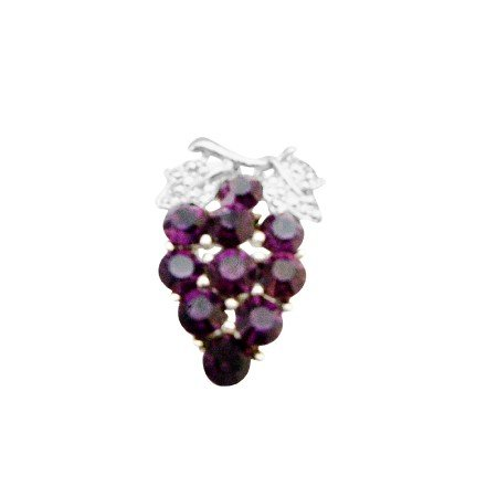 B410  Prom Jewelry Amethyst Crystals Brooch Dress Crystals Brooch