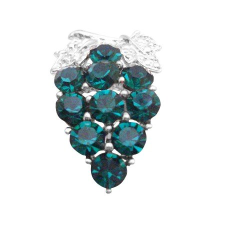 B409  Emerald Brooch Wedding Brooch Emerald Crystals Brooch