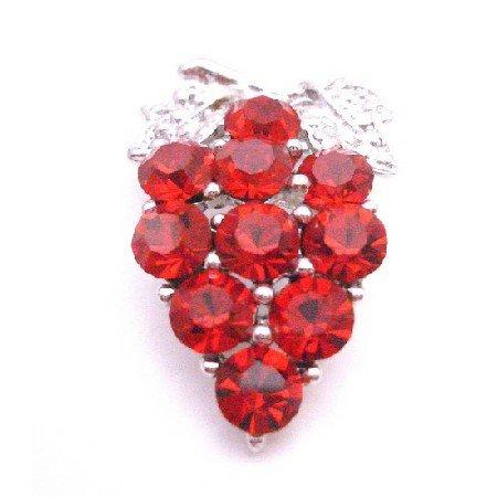 B407  Dress Brooch Siam Red Crystals Brooch