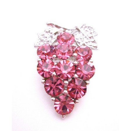 B406  Prom Brooch Pink Rose Crystals Silver Casting Leaves Crystals Brooch