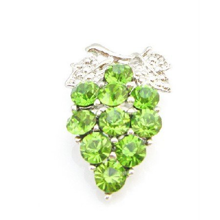 B405  Tree Brooch Pin Peridot Crystals Tree Brooch Pin