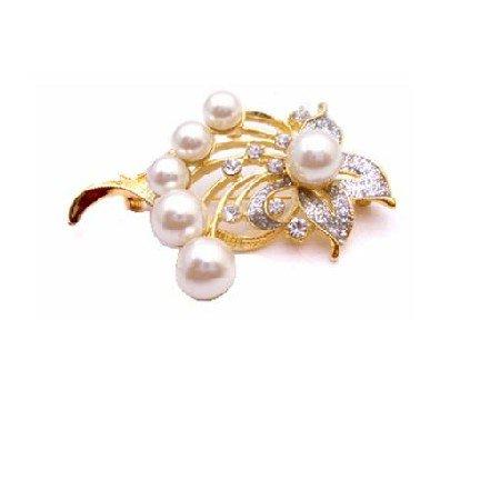 B426  Pearls Brooch Bouquet Gold Framed Gift Bouquet Brooch