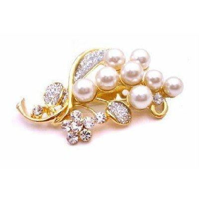 B423 Wedding Bouquet Brooch Gold Brooch Affordable w/ Pearls & Diamond Sparkling Traditional