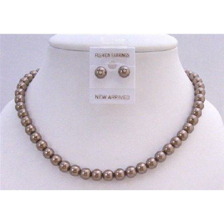 NS216  Bridal Bridemaids Jewelry Bronze Brown Pearls Necklace w/ Stud Earrings