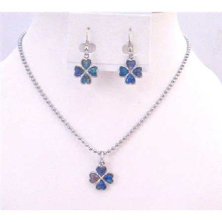 NS627  Flower Mother Of Shell Flower Pendant Necklace Set Mother Of Shell Abalone Coated
