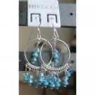 ERC046  Handmade Genuine Aquamarine Crystals 92.5 Sterling Silver Earrings