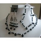 NSC138  Authentic Jet Swarovski Crystals AB Crystals Necklace Set w/ Bracele