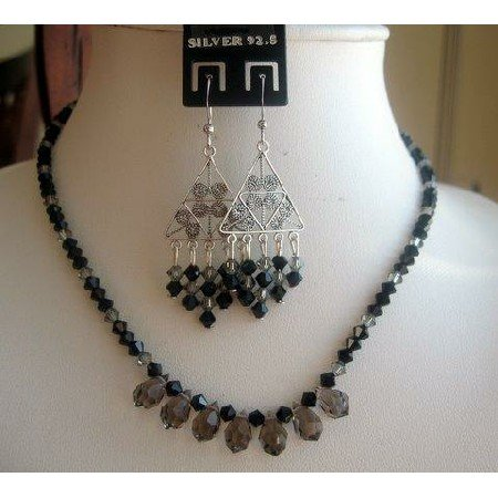 NSC153  Hand Made Vintage Set in Genuine Swarovski Jet and Black Diamond clear Crystals