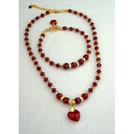 NSC208  Genuine Swarovski Siam Red Crystals Heart Pendant Necklace & Bracelet Handmade