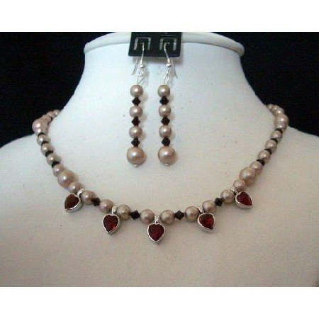 NSC218  Genuine Swarovski Rose Pearls w/ Garnet Crystals & Small Heart Pendant Necklace Set