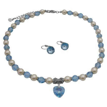 NSC228  Genuine Swarovski Cream Pearls & Aquamarine Crystals w/ Heart Pendant Necklace Set