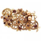 B560  Vintage Antique Gold Brooch Smoked Topaz Crystals Brown Pearls