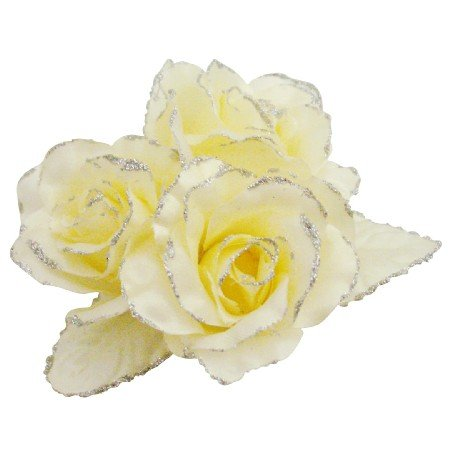 B534  Flower Brooch In Yellow Butter Color Brooch For Wedding Dress