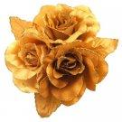B538  Looking For Dress Brooch Golden Satin Flower Brooch Hair Bun