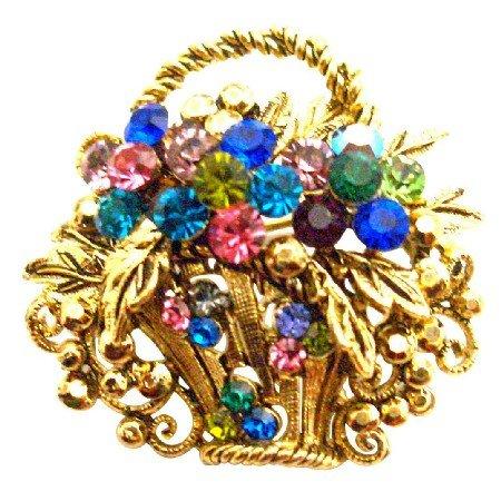 B544  Gold Burnished Multi Colored Rhinestone Flower Basket Brooch Pin