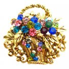 B544  Gold Burnished Multi Colored Rhinestone Flower Basket Brooch Pin
