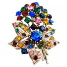 B545  Flower Bouquet Brooch Alloy Metal With Spring MultiColor Crystals Brooch
