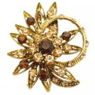 B548  Flower Decorated Ring Shaped Jacket Brooch Smoked Topaz Crystals & Colorado Crystals