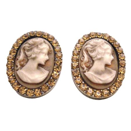 ERC664  Valueable Gift For Your Mother Vintage Cameo Jewelry W/ Crystals