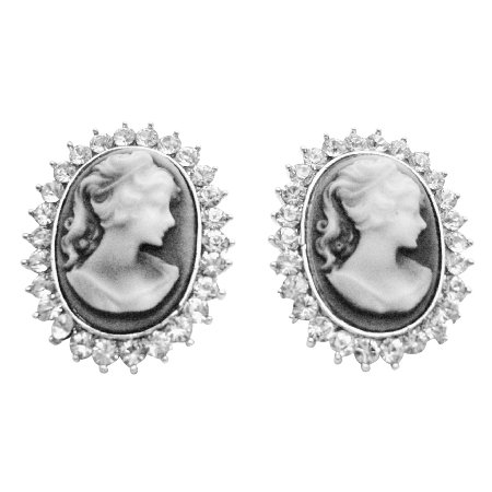 ERC662  Great Deal On Antique Vintage Cameo Earrings With Sparkling Diamante