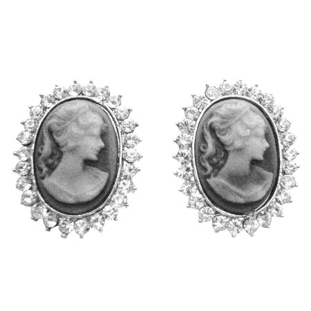 ERC661  Sophisticate Cameo Jewelry Cameo Earrings Oval Shaped Diamate