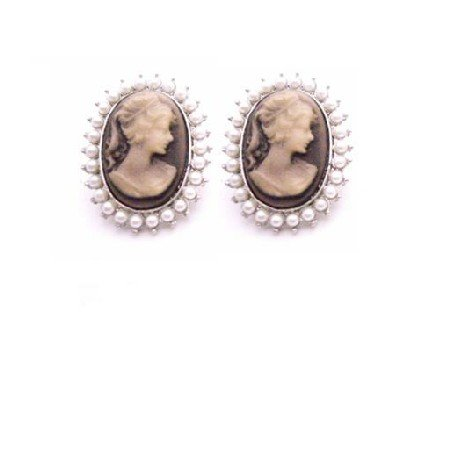 ERC671  Dainty Delicate Very Traditional Cameo Earrings Decorated W/ Pearls