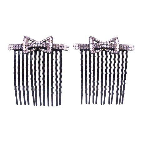 HA589  Bow Design Crystals Hair Comb for Quinceanera Pageants Prom