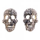 HH262  Skull Head With Black Diamond Crystals Earrings
