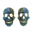 HH263  Scary Skull Earrings Sapphire Blue Crystals Earrings